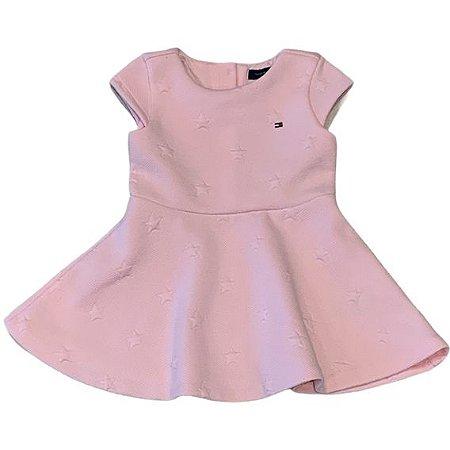 TOMMY HILFIGER vestido de malha grossa rosa c estrelas 3-6 meses