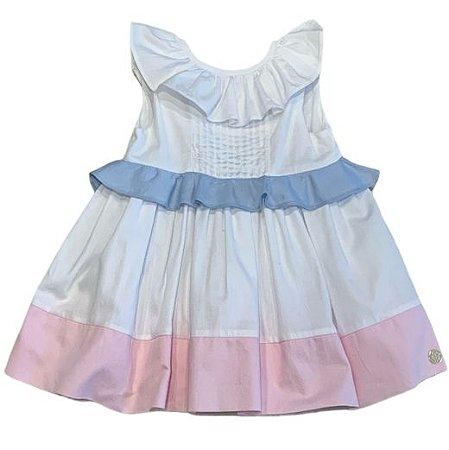 PAOLA BIMBI vestido gorgorão branco barra rosa P 6 meses