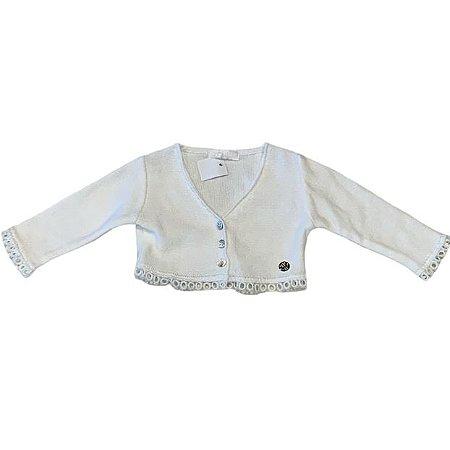 PAOLA BIMBI casaco de linha branco acabamento bordaso 3-6 meses