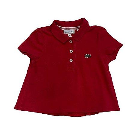 LACOSTE camisa polo vermelha estilo bata 2 anos