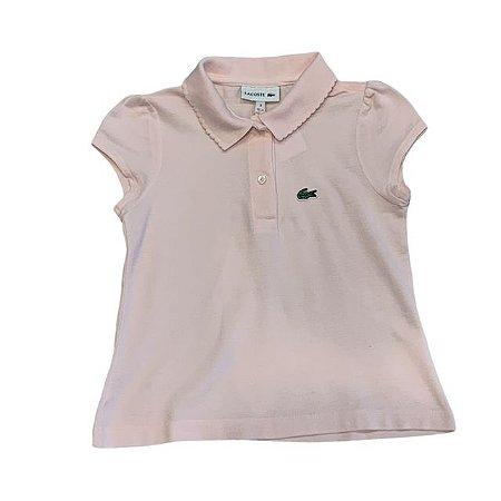 LACOSTE camisa polo rosa acabamento gola 3 anos ( pequenas manchas)
