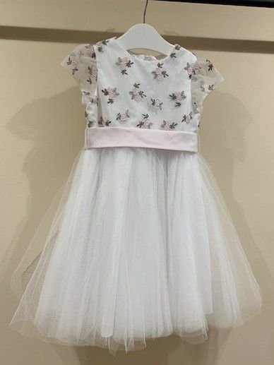 PAOLA DA VINCI vestido c calcinha branco bordado rosas saia tule 3 anos