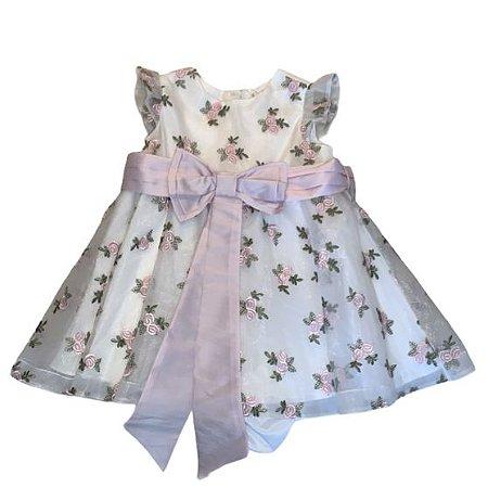 PAOLA DA VINCI vestido c calcinha branco tule bordado rosas 3-6 meses
