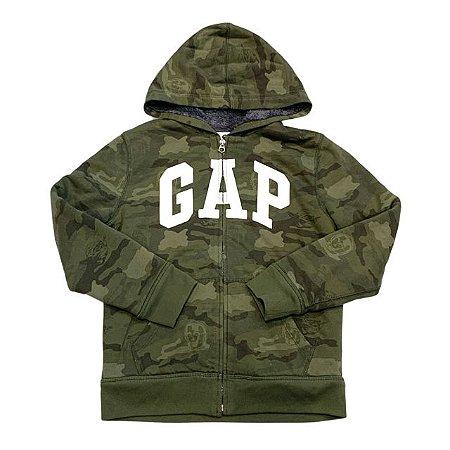 GAP KIDS casaco moletom capuz camuflado forro pelos sintético 10 anos