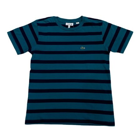 LACOSTE camiseta verde listras marinho 12 anos