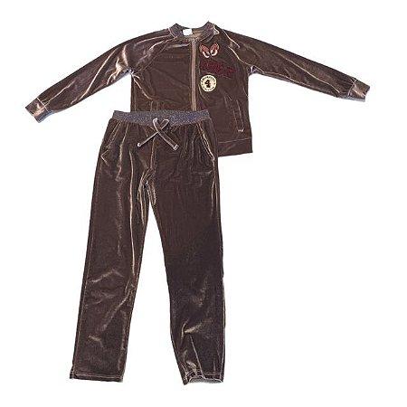 ZARA conjunto calça e casaco veludo molhado marrom 8 anos