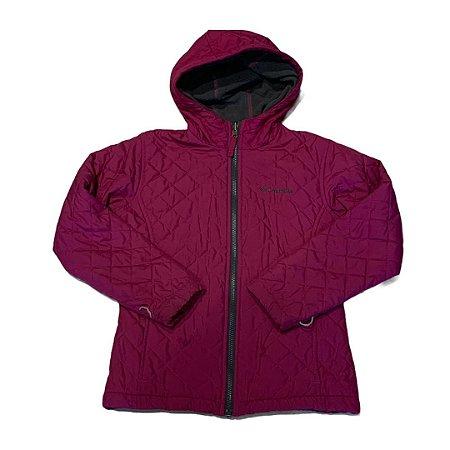 COLUMBIA casaco nylon acolchoado fúcsia dupla face 10-12 anos
