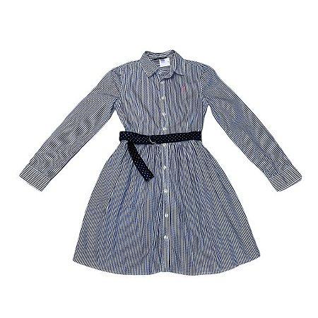 RALPH LAUREN vestido tipo chemise listras azuis e brancas 12 anos