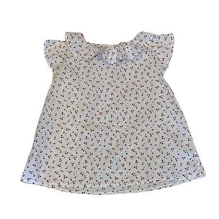 H&M bata algodão branca cerejas 8-9 anos