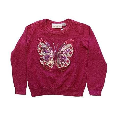 THE CHILDRENS PLACE casaco linha rosa borboleta lantejoulas 3 anos