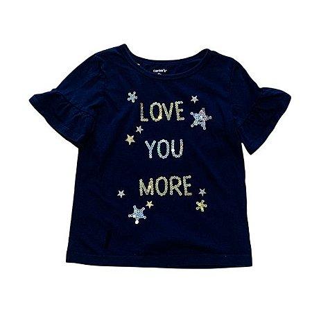 CARTERS camiseta marinho love lantejoulas 5 anos