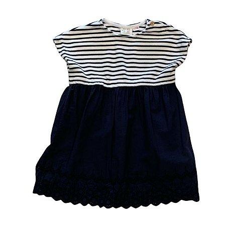 ZARA vestido de malha listras marinho e saia bordado inglês 3-4 anos