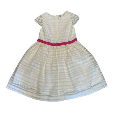 OSHKOSH vestido offwhite listras faixa pink 5 anos