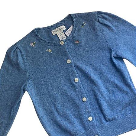 RALPH LAUREN casaco de linha azul bordados gola 24 meses ( 3 botões não originais)