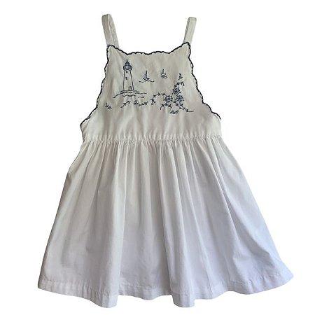 RALPH LAUREN vestido algodão branco bordado farol 18 meses  ( pequena mancha no bordado)