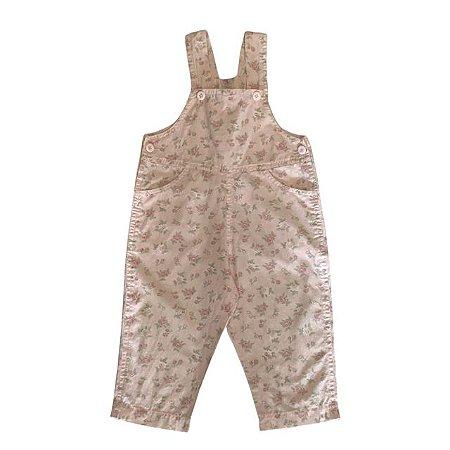 Jardineira de algodão rosa estp rosas 1 ano