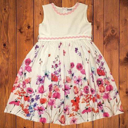 CRIAÇÕES AC (EL CORTE INGLÊS) vestido algodão florido pala gorgorão 10 anos