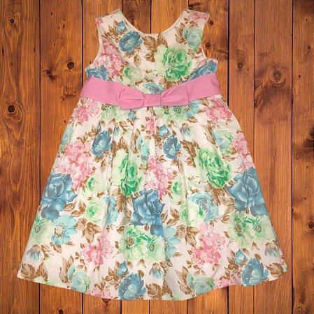 BLUE KIDS vestido algodão florido laço rosa 9-10 anos 7