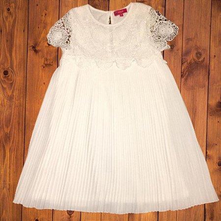 LION OF PORCHES vestido renda plissado offwhite 7-8 anos