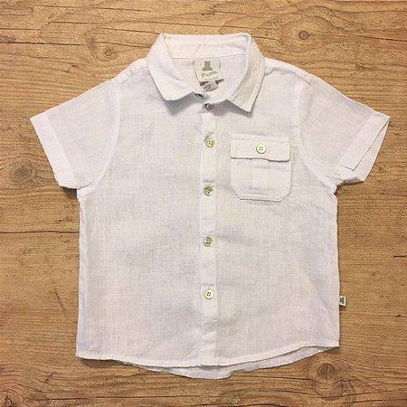 PAOLA BIMBI camisa social de linho branca mg curta GG 12 meses