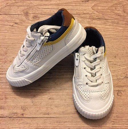 ZARA tênis branco det azul e couro BRA 22