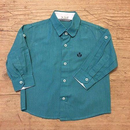 UPIA camisa social azul esverdeado M 1 ano