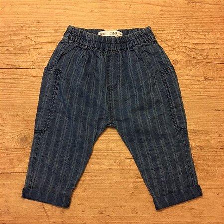 ZARA calça algodão azul listras com elástico na cintura 9-12 meses
