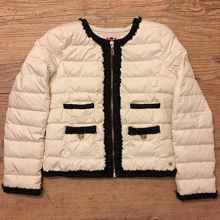 JUICE COUTURE casaco matelassê nylon branco detalhes preto L 10 anos