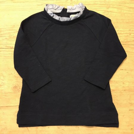 CREWCUTS camiseta mg longa malha grossa  marinho babado gola 6-7 anos