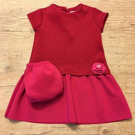 PAOLA BIMBI vestido tipo neoprene rosa e vermelho 2 anos