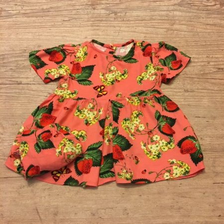 FÁBULA vestido c calcinha laranja estp morango 12 meses