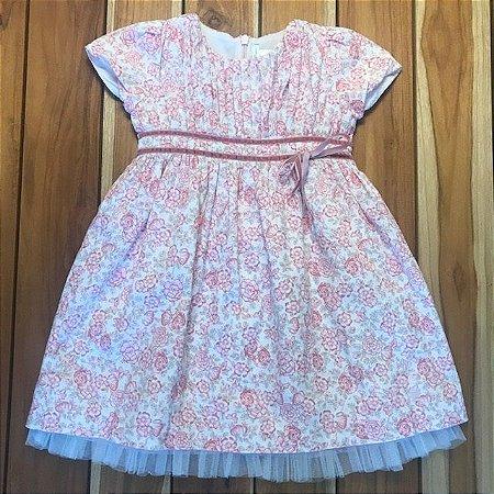 BABYCOTTONS vestido algodão florido rosa 4 anos