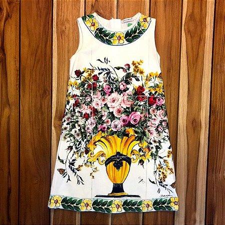 DOLCE GABBANA vestido malha offwhite est flores 6 anos