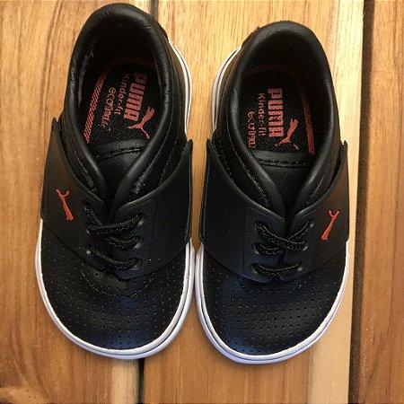 PUMA tênis couro ecológico preto cadarço USA 3 BRA 17