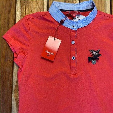 LION OF PORCHES camisa tipo polo vermelha gola babado azul 7-8 anos  c etiqueta