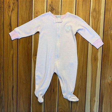 BABY COTTONS macacão pezinho rosa listrado 9 meses