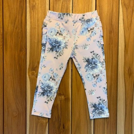 PAOLA BIMBI calça legging rosa flores azuis e babados GG 9-12 meses