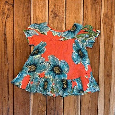 FÁBULA vestido malha laranja flores azuis 18-24 meses