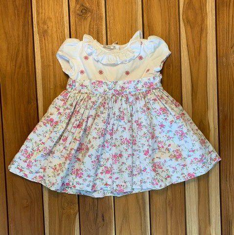 UPIÁ vestido florido c pala branca bordada de flor M 6 meses