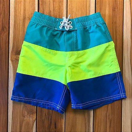 BABY GAP short praia azul verde e amarelo 4 anos