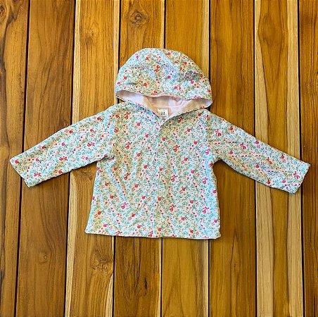 BABY GAP casaco de malha dupla face florzinha e listras 6-12 meses