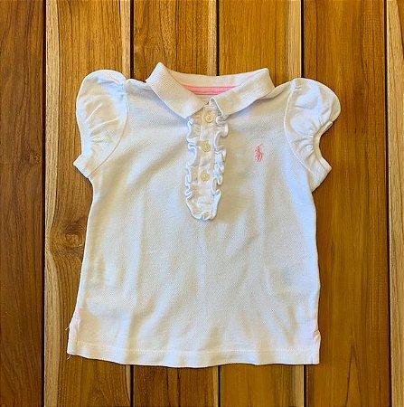 RALPH LAUREN camisa polo branca babado gola 9 meses