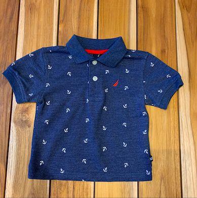 NAUTICA camisa polo azul mescla est âncora 12 meses