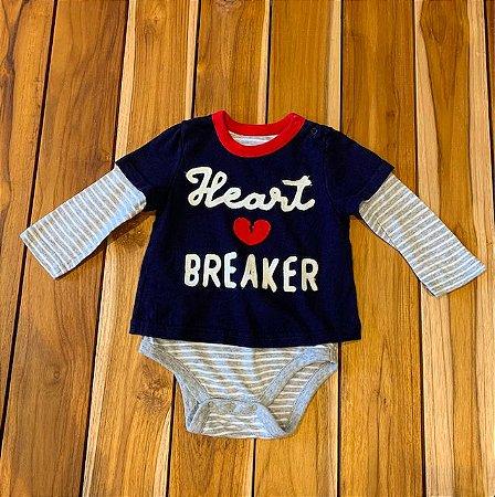 BABY GAP body malha mg longa marinho hart breaker 6-12 meses