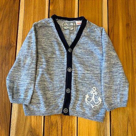 ZARA casaco de lã mescla marinho 9-12 meses