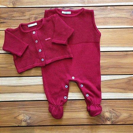 BABIES conjunto de linha macacao e casaco Vermelho RN
