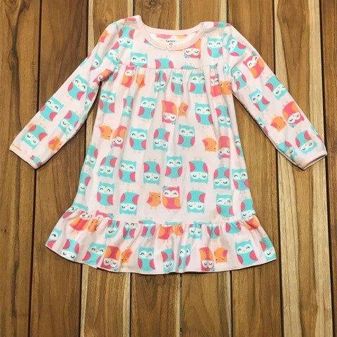 CARTERS camisola soft rosa coruja verde 2-3 anos