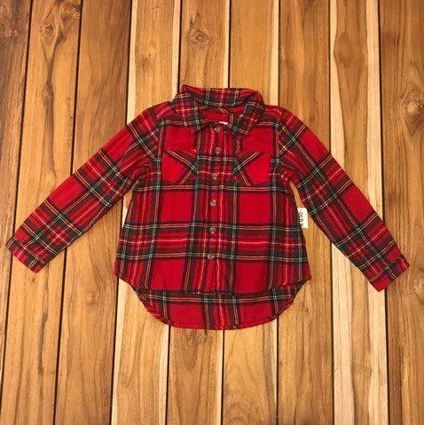 OLD NAVY camisa social xadrez flanela vermelha com verde 4 anos