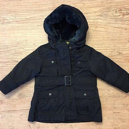 ZARA BABY casaco nylon preto forro acolchoado marrom destacável 6-9 meses