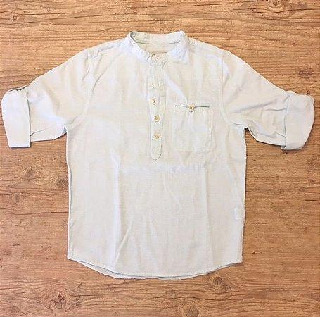 ZARA boys camisa de linho azul clara 8 anos
